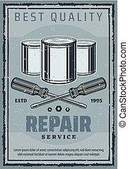 Repair and construction work tools retro poster