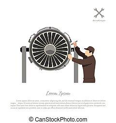 Repair and maintenance of aircraft. Engineer repairing airplane engine