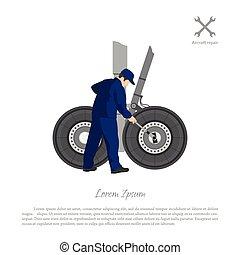 Repair and maintenance of aircraft. Engineer repairing airplane landing gear