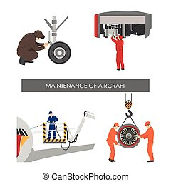 Repair and maintenance of aircraft . Set of aircraft parts in flat style on white background