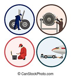 Repair and maintenance of aircraft. Set of images with engineers repairing airplane. Figures in a circle