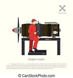 Repair and maintenance of aircraft. The mechanic repairing jet engine of airplane