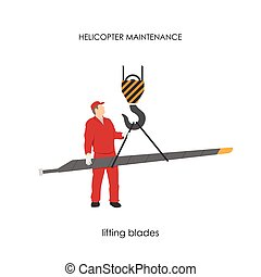 Repair and maintenance of helicopters. Lifting blades.