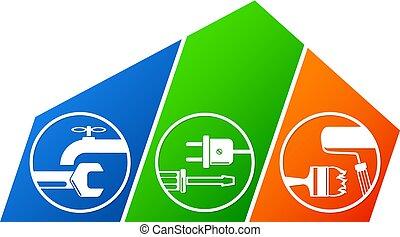 Repair and maintenance of house symbol vector