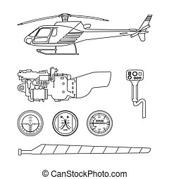 Repair and maintenance of the helicopter. Set of parts of...
