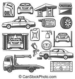 Repair and service car maintenance icons vector