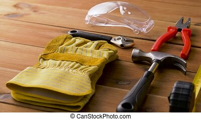 different work tools on wooden boards - repair, building and...