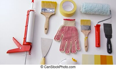 different painting work tools on white background - repair,...