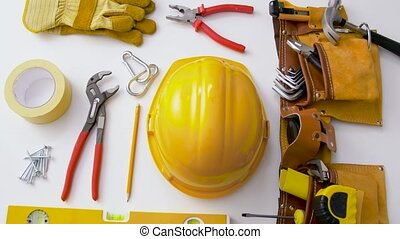 different work tools on white background - repair, building...