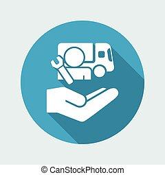 repair-, camion, minimal, icône