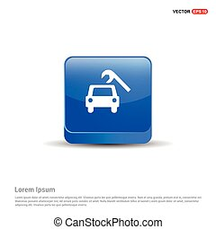 Repair Car Icon - 3d Blue Button