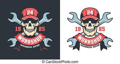 Repair car service vintage emblem - skull and adjustable wrench
