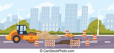repair., city., 交通, ピット, cones., スタイル, スチームローラー, 囲まれた, 道, ロードワーク, 建設, ベクトル, 漫画, 平ら, 前部, コンパクター, 都市, highway., asphalting, イラスト