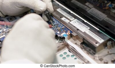 Repair computer processor, close up