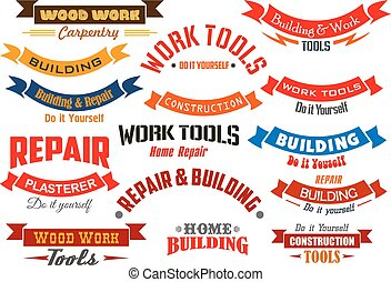 Repair, construction, carpentry vector icons set