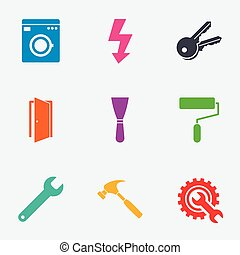 Repair, construction icons. Electricity, keys.