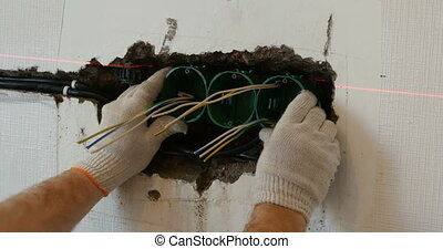 Repair electrical outlet in the wall - Repair installation...