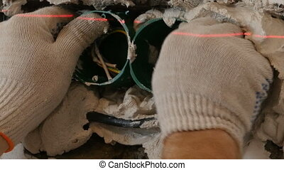 Repair electrical outlet in the wall sequence - Repair...