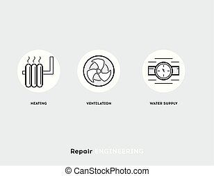 Repair Engineering. Flat Illustration Set of Line Modern Icons