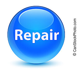 Repair glassy cyan blue round button