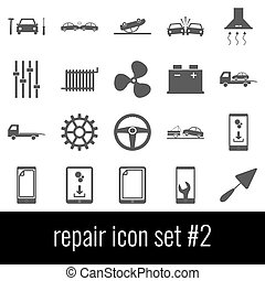 Repair. Icon set 2. Gray icons on white background.