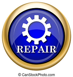 Repair icon - Shiny glossy icon with white design on blue...