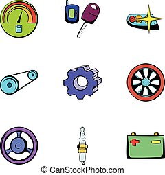 Repair icons set, cartoon style