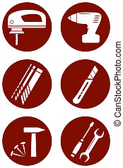 repair icons with construction tools
