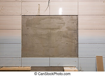 Repair in the bathroom - in the tile is left a place for the built-in mirror