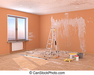 Repair in the room. Painting and plastering of walls. 3d...