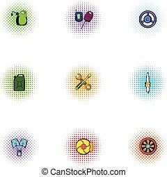 Repair machine icons set, pop-art style