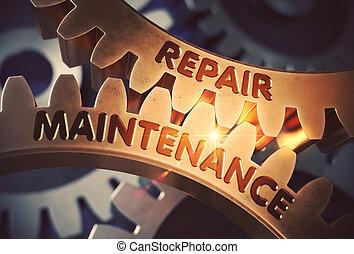 Repair Maintenance on the Golden Cogwheels. 3D Illustration.