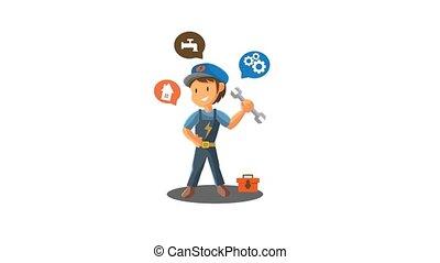 Repair man Holding Spanner worker Mechanic workshop emblem badge Mascot Video