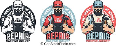 Repair man worker vintage logo