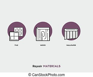 Repair Materials. Flat Illustration Set of Line Modern Icons