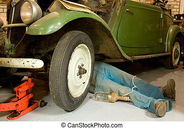 repair of a vintage car - repair of an oldmobile car in the ...