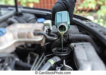 Filling engine oil.