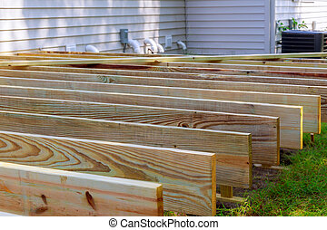 Repair of an wooden deck or patio with modern wood material