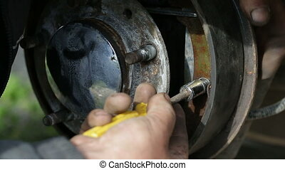 Repair of brake drum closeup