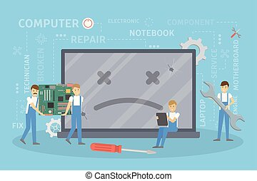 Repair of broken computer.