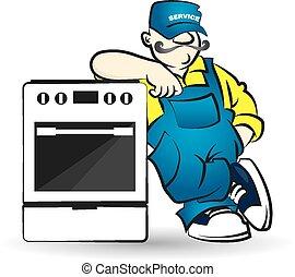 Repair of gas equipment vector - Repairman of gas equipment...