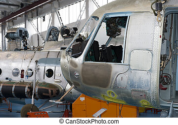 Repair of helicopters on the aircraft factory