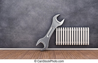 Repair of radiator - Illustration of repair of radiator on a...