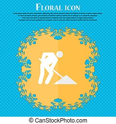 repair of road, construction work. Floral flat design on a blue abstract background with place for your text. Vector