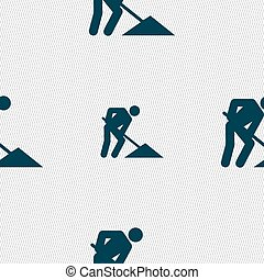 repair of road, construction work icon sign. Seamless pattern with geometric texture. Vector