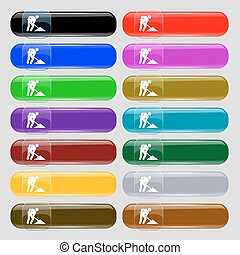 repair of road, construction work icon sign. Set from fourteen multi-colored glass buttons with place for text. Vector