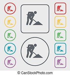 repair of road, construction work icon sign. symbol on the Round and square buttons with frame. Vector