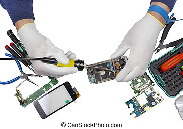 Repair of the  modern smart phones isolated