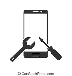 repair of the smartphone. Simple icon. Smartphone with wrench and screwdriver