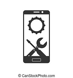 Repair or adjust the parameters of the smartphone. Simple icon.